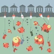 Cartoon vector concept. Fishing. Finances. Business risks. Banks. Credits and - stock illustration