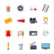 Movie and cinema isolated icons vector set. - stock illustration