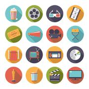 Circular movie and cinema icons vector set. - stock illustration