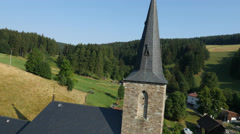 Aerial view of historical church Stock Footage
