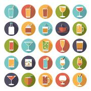 Stock Illustration of Circular drinks and beverages icons vector set.
