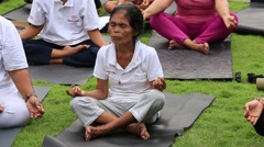 Stock Video Footage of People come to training on laughter therapy and yoga classes, Ubud, Indonesia