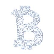 Bitcoin cloud hand-drawn symbol - stock illustration