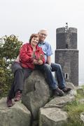 Happy active senior couple on the trip Stock Photos