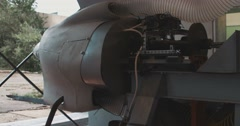 Engine and propeller of the plane Stock Footage