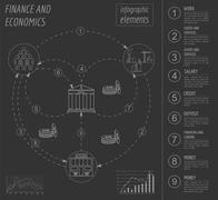 Economics and finance infographic. Investment projects. Banks. Elements for c Stock Illustration