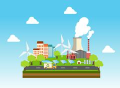Eco industrial town Stock Illustration