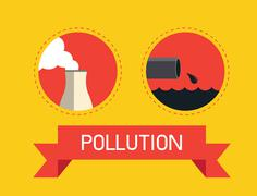 Air and water pollution - stock illustration