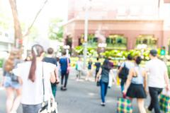 Blur people in rush hours at orchard road - stock photo