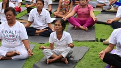 Stock Video Footage of People training on laughter therapy and yoga classes and dance. Bali, Indonesia