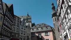 View of Cochem market square, Moselle region, Germany Stock Footage