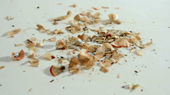 Colored pencils and Shavings Stock Footage