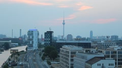 Berlin skyline with tv tower at evening Stock Footage