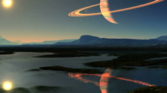 The sun and the gas giant in the reflection of water Stock Footage