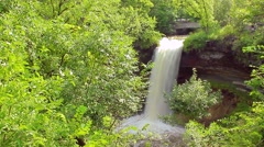 Minnehaha Falls through Trees Stock Footage
