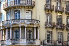 Front aspect of Lisbon town house - stock photo