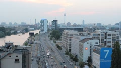city skyline, berlin germany from high viewpoint - stock footage