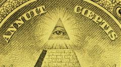 US $1 pyramid (blinking eye) currency artwork macro video V11880c Stock Footage