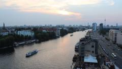 Berlin skyline with river spree, boat and tv tower Stock Footage