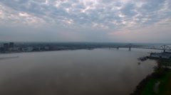 From bridge over water pan to city skyline, Baton Rouge, LA, Aerial Stock Footage