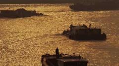 The ferryboat,wushongjiang river Stock Footage