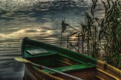 Old boat with an oar on the shore in the reeds evening twilight - stock photo