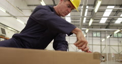 Warehouse worker prepares order for dispatch in a large distribution centre. Stock Footage