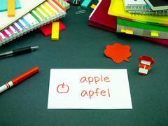 Learning New Language Making Original Flash Cards; German Stock Photos