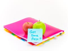 Office Documents and Apples; Get Some Rest Stock Photos