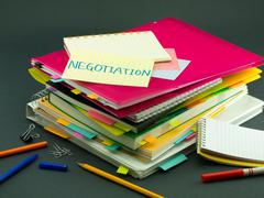 The Pile of Business Documents; Negotiation Stock Photos
