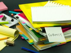 The Pile of Business Documents; Submit - stock photo