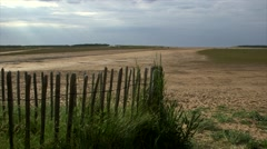 English beach with fence Stock Footage