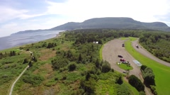 Aerial panorama of Forillon Park in Gaspesie Stock Footage