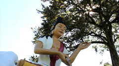 Stock Video Footage of Buddhism temple - Traditional architecture and sculptures.