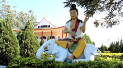 Buddhism temple - Traditional architecture and sculptures. Stock Footage