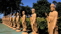 Buddhism temple - Traditional architecture and sculptures. Amida Stock Footage