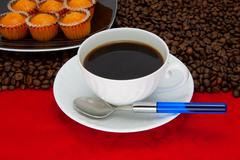 Coffee cup over red background - stock photo