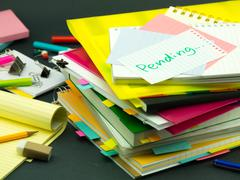 The Pile of Business Documents; Pending - stock photo