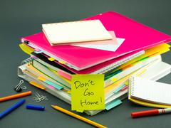 The Pile of Business Documents; Don't Go Home - stock photo