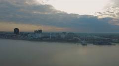 City skyline across Miss. River to  bridge and buildings,  Baton Rouge, LA, Stock Footage