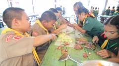 Cooking Scout activities in Pieamsuwan school Stock Footage