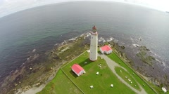 Aerial view Cap de Rosiers lighthouse Stock Footage