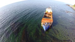 Shipwreck on Saint Lawrence River Stock Footage