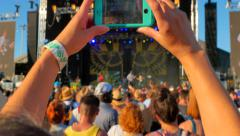 4K Video Movie Mobile Phone Camera Recording at Live Music Festival Concert Stock Footage