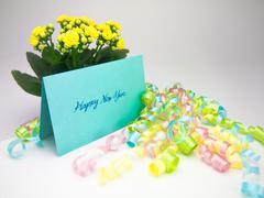 Massage Card; Happy Hew Year - stock photo