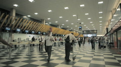 Congonhas Airport, Sao Paulo, Brazil. CGH, Passengers Terminal. Tourists Stock Footage