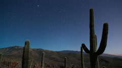 Cactus Stars Moonset 1 Stock Footage