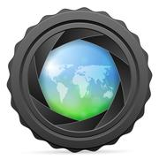 Camera shutter with world map Piirros