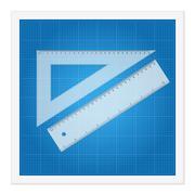 blueprint and ruler instruments - stock illustration