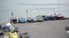 Fishing boats in England, Beer village, UK, GB, England, Europe Stock Footage